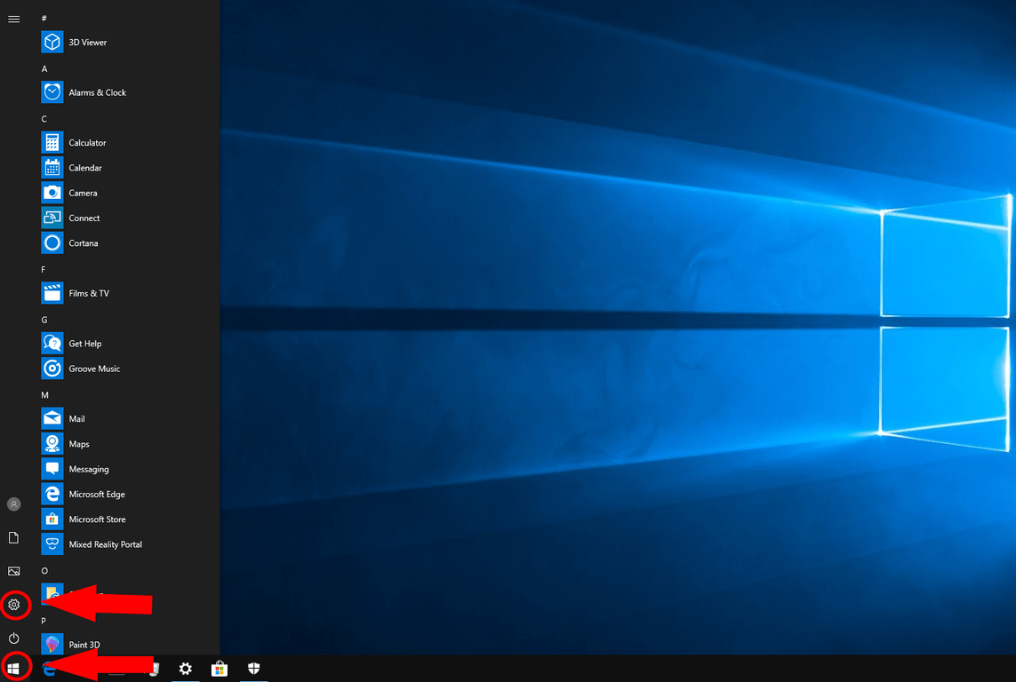 Windows 10 Settings link in Start menu screenshot