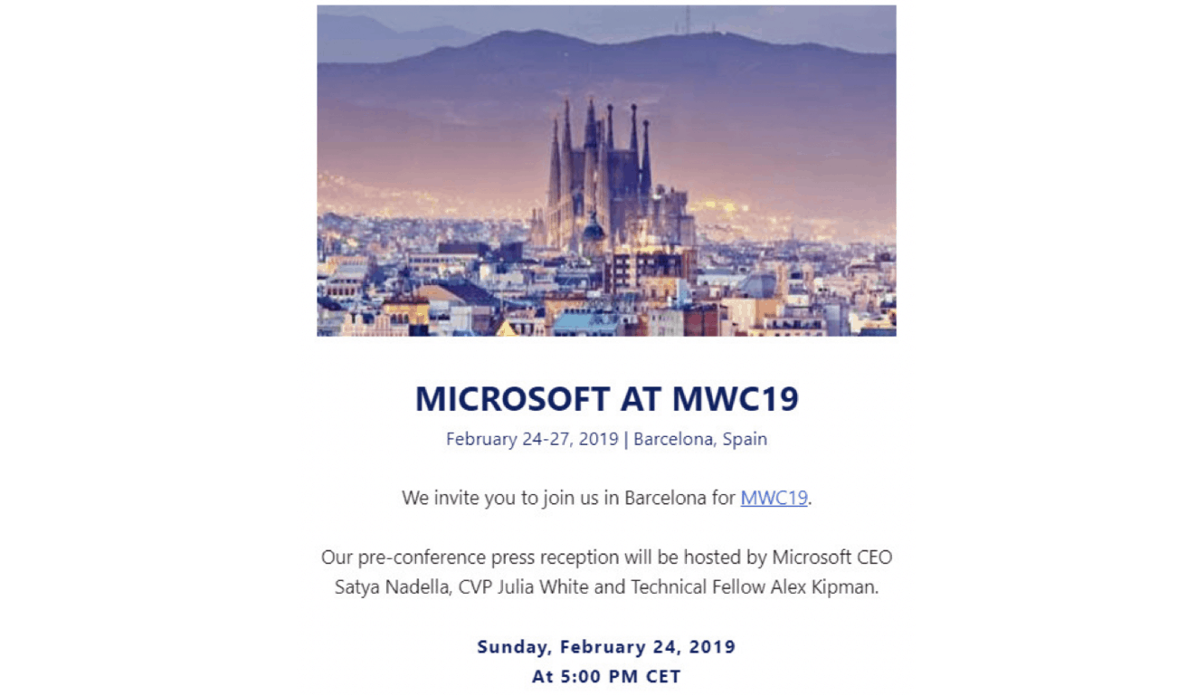 Microsoft to attend Mobile World Congress with CEO Satya Nadella and HoloLens inventor Alex Kipman OnMSFT.com January 16, 2019