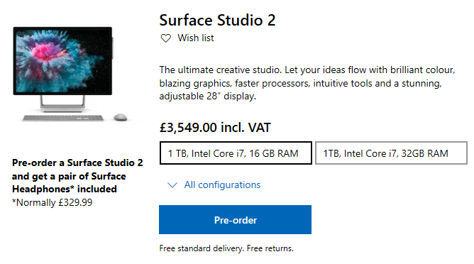 In the uk? Now you can pre-order a surface studio 2, and get a free pair of surface headphones - onmsft. Com - january 3, 2019
