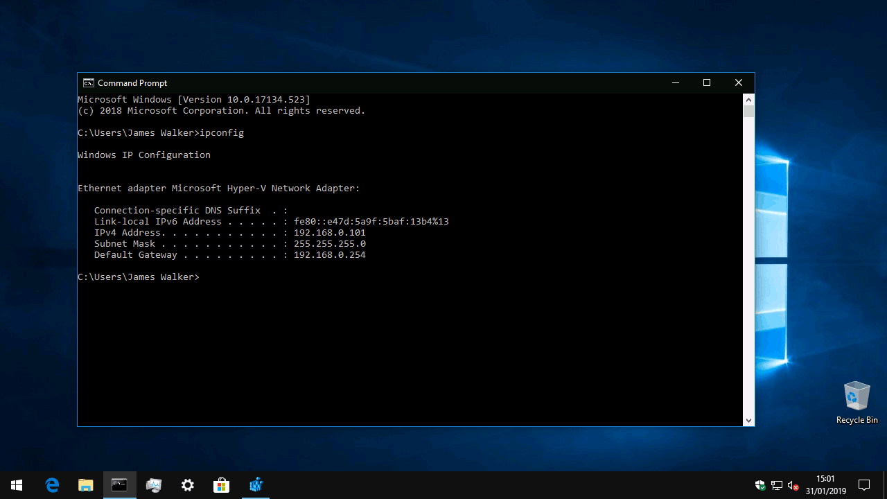 Checking ip address in command prompt