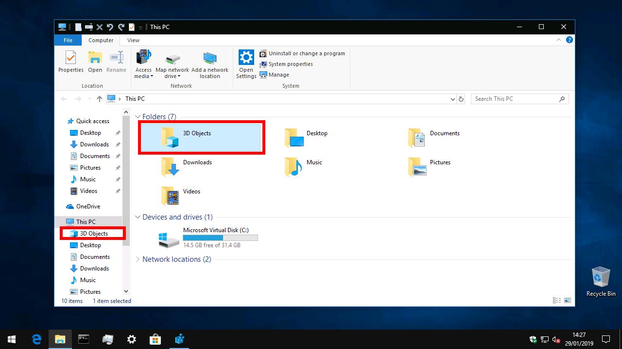 3D Objects in File Explorer