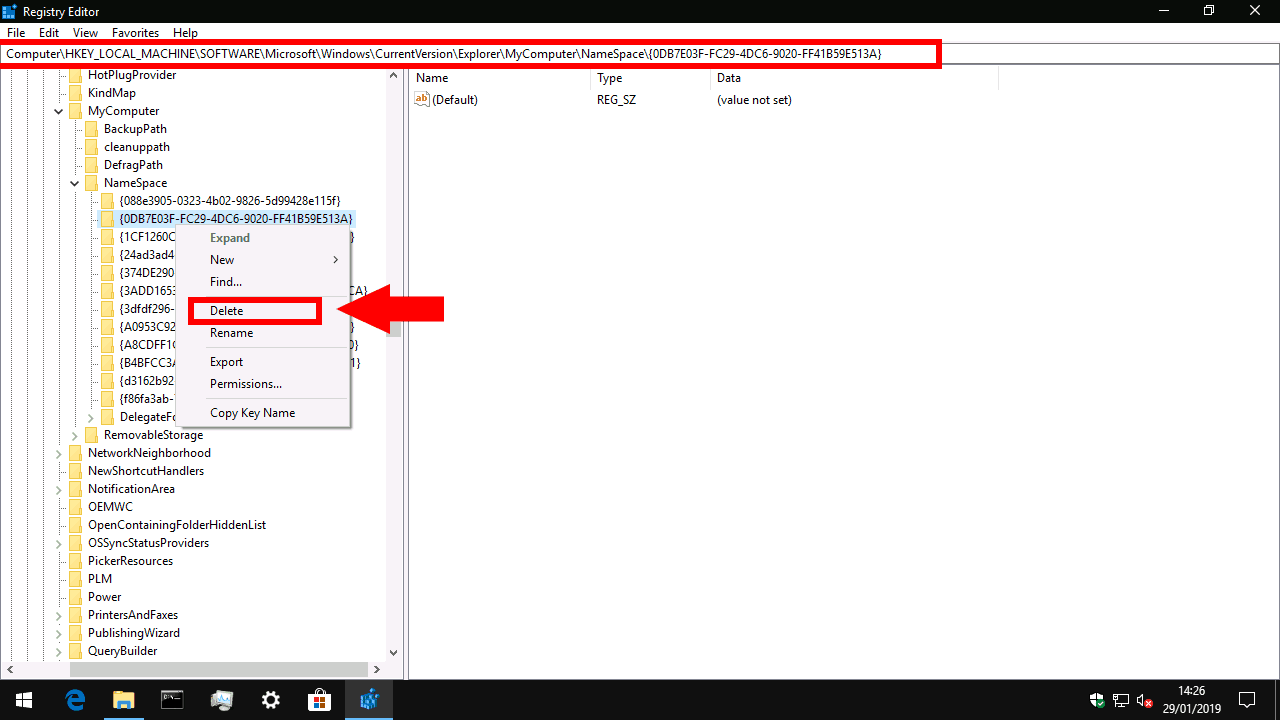 Removing 3D Objects from File Explorer by registry editing