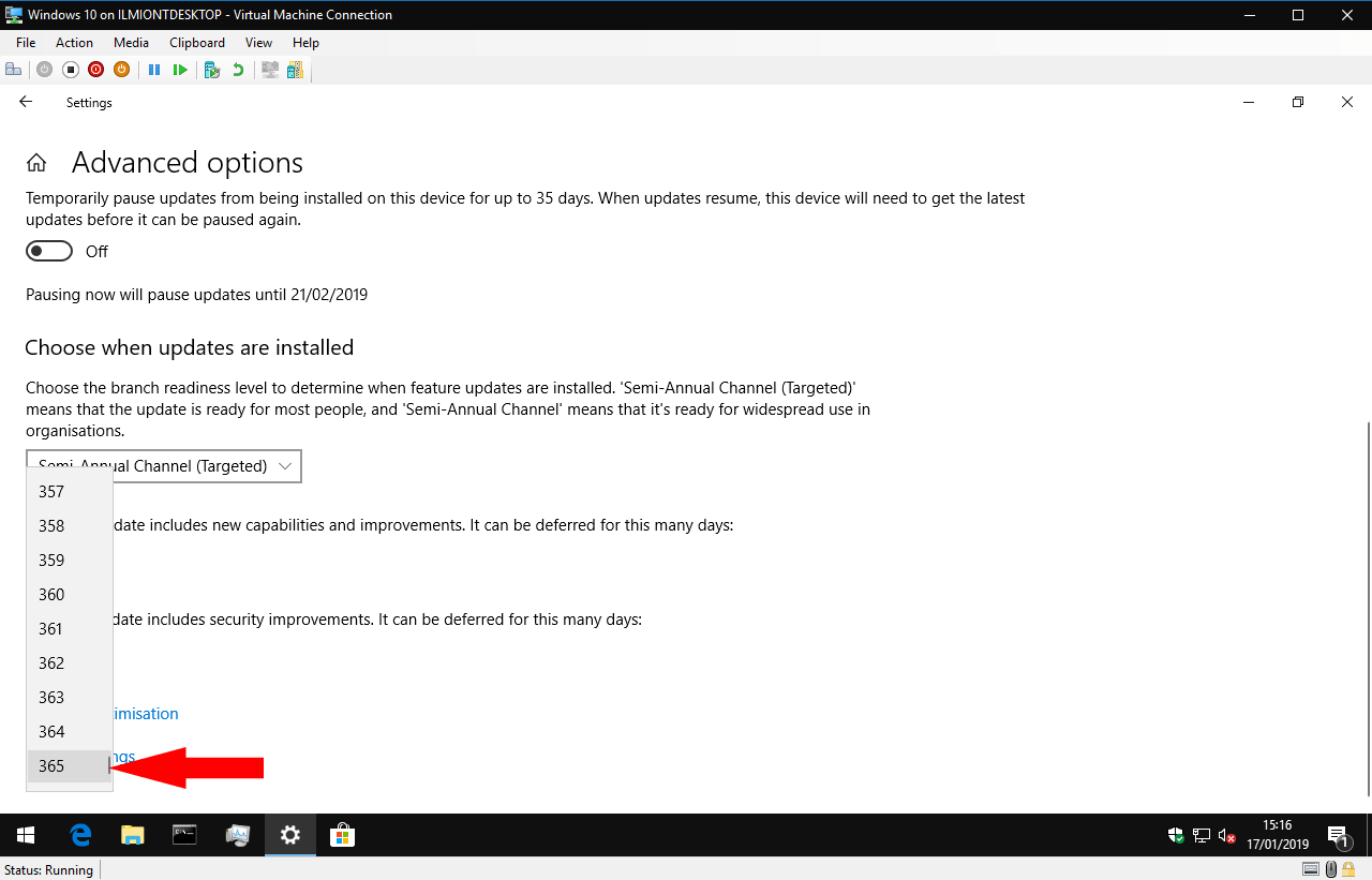 Pausing updates in windows 10 1809