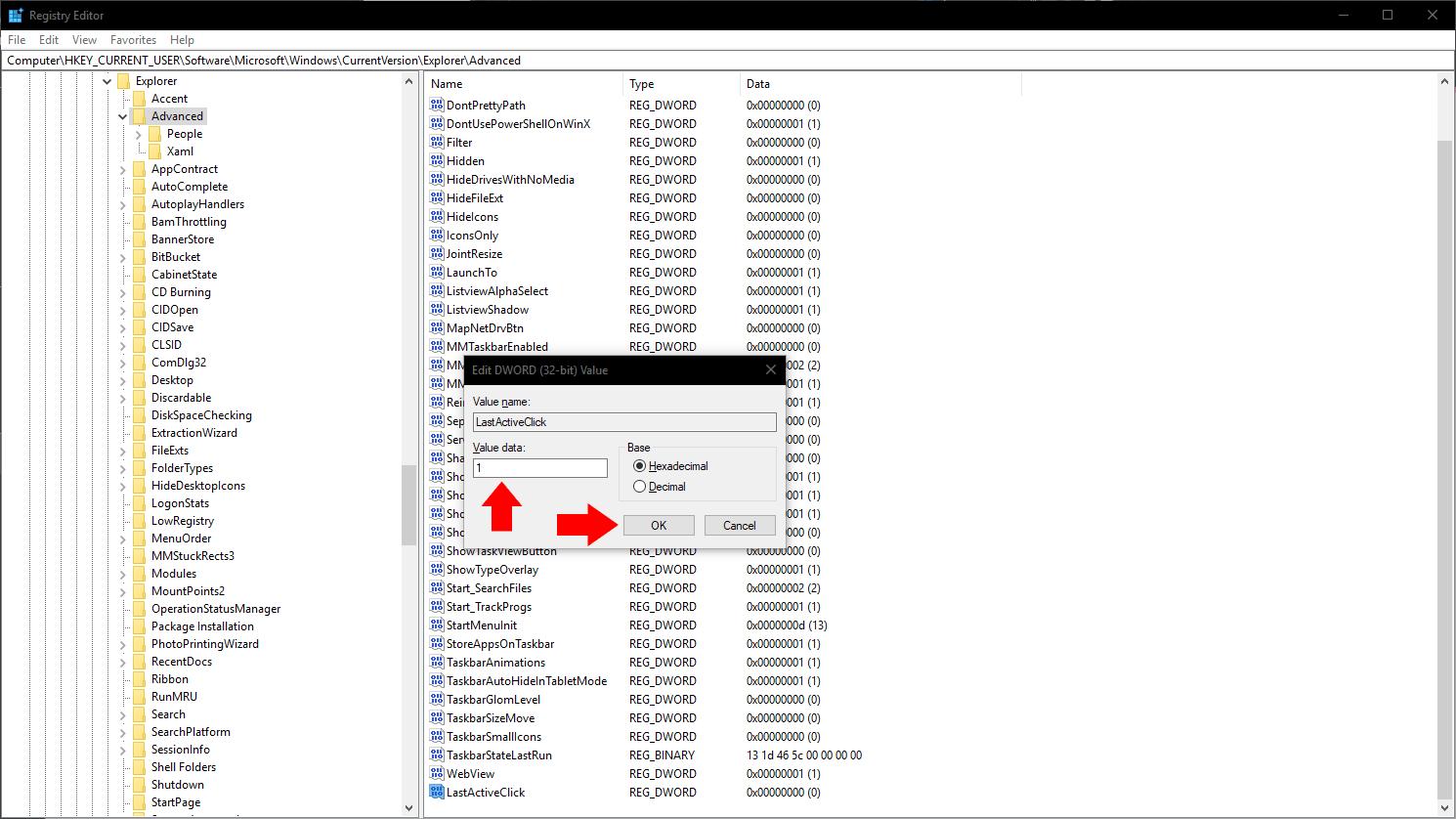 Registry editing to make taskbar icons open last active window on click