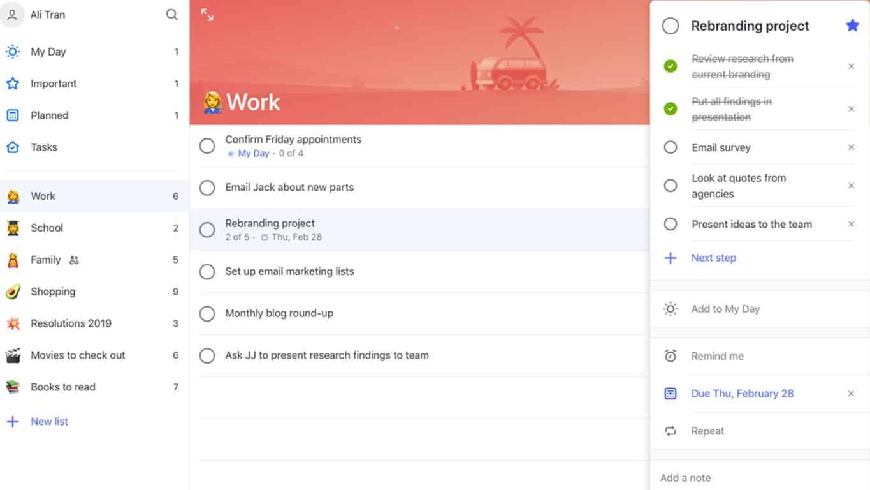 Microsoft To-Do app on iPad
