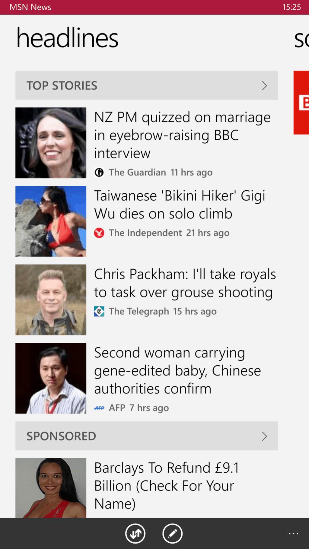 Msn news v3 on windows 10 mobile
