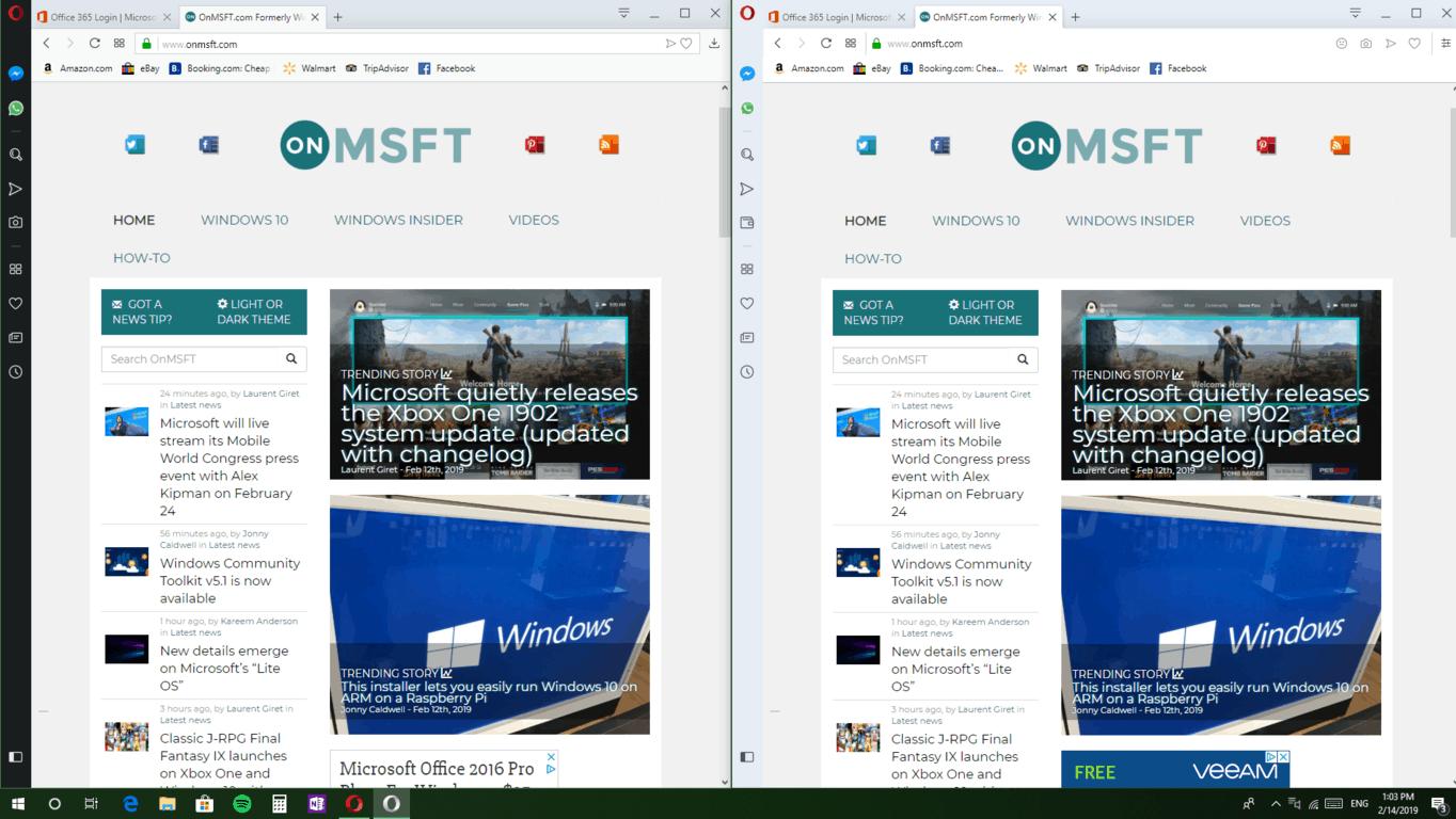 "Opera is beta testing a ""reborn"" desktop browser design - onmsft. Com - february 14, 2019"