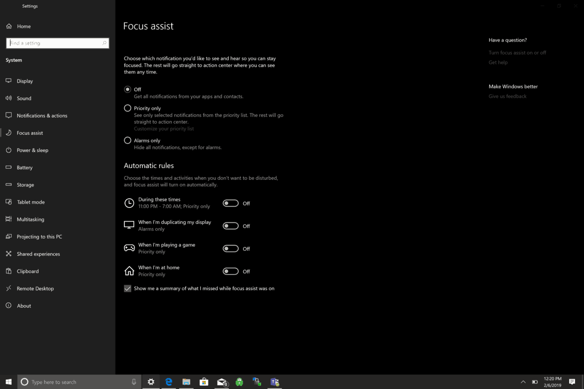 Microsoft, Windows 10, Focus Assist, Settings