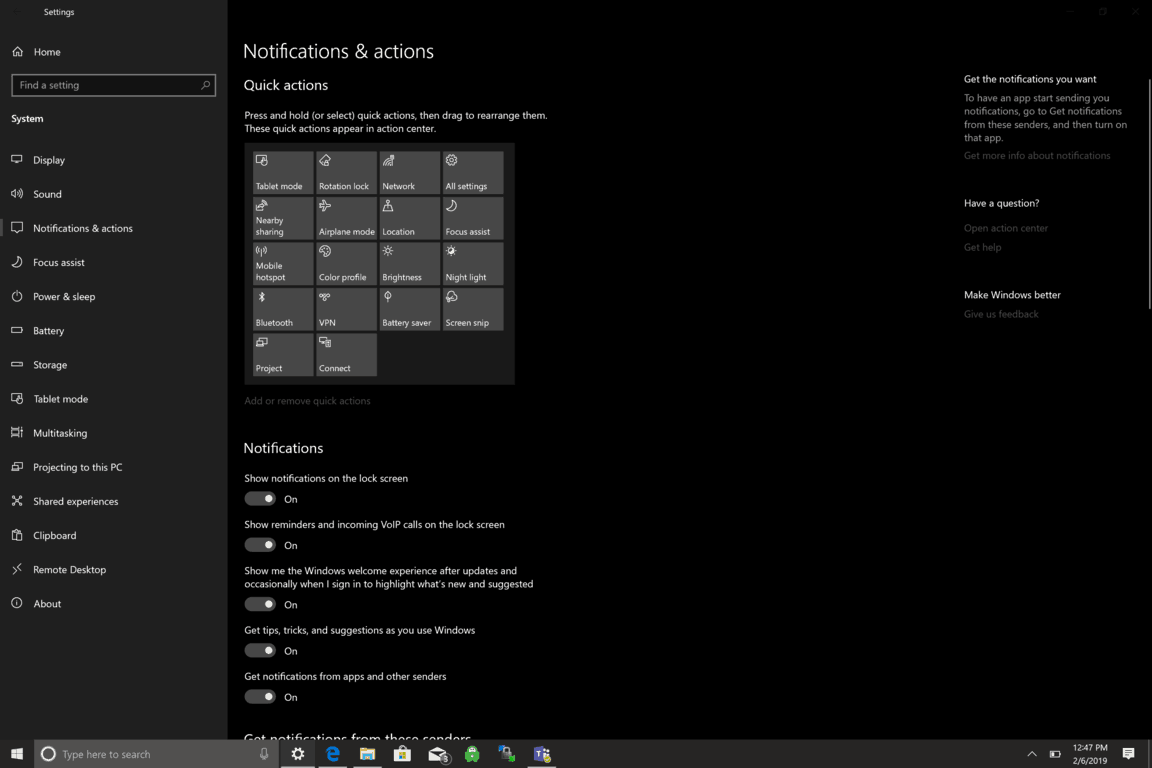 Microsoft, Windows 10, Notifications, Settings
