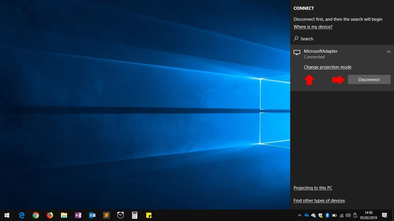 Connecting to a wireless display in Windows 10