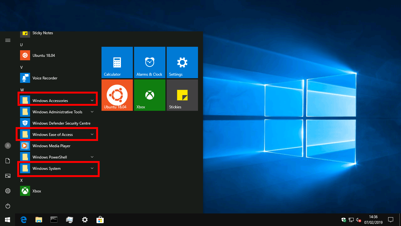 Managing folders in the Windows 10 Start menu