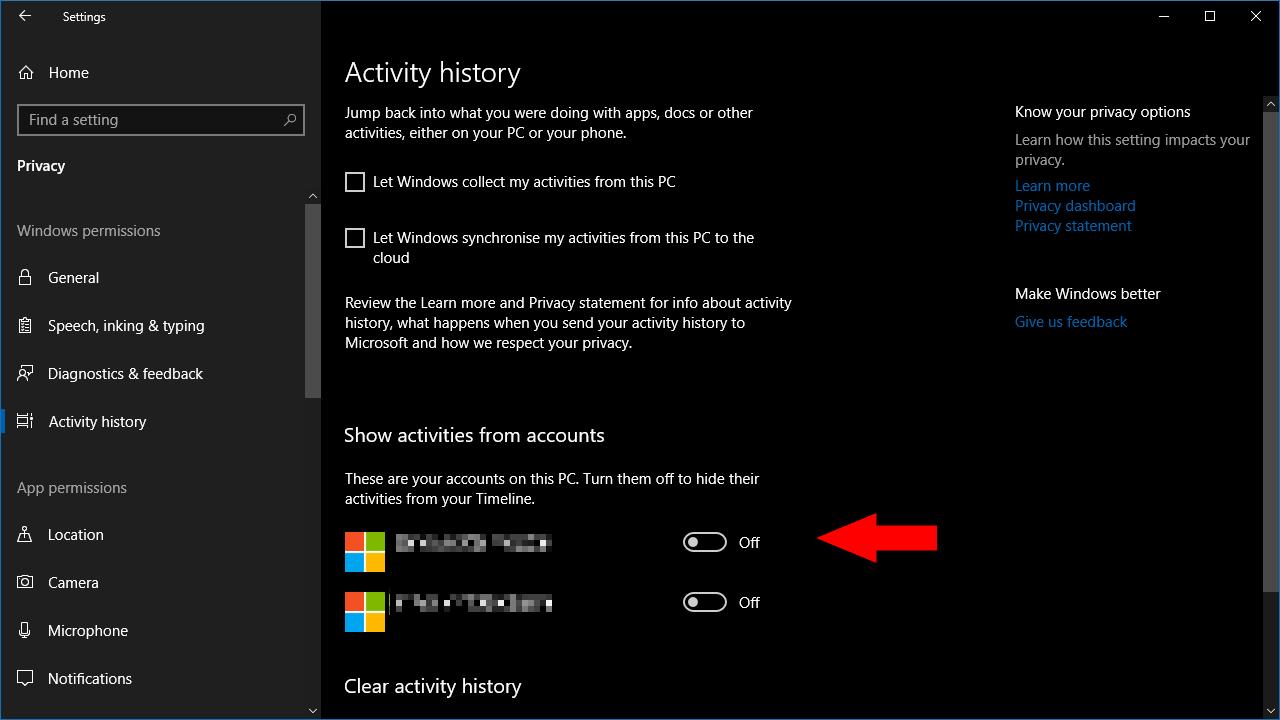 Screenshot of windows 10 activity history settings