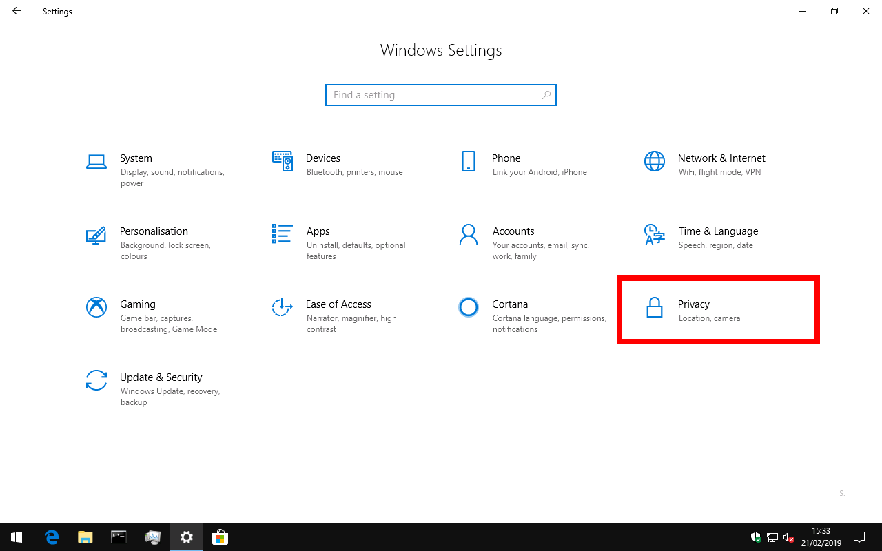 Windows 10 privacy settings category on settings app homepage