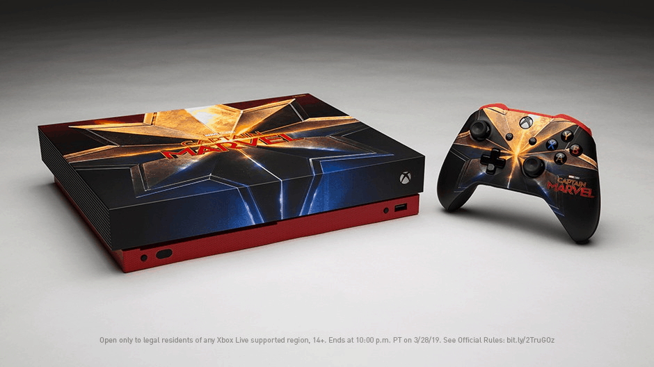 Custom captain marvel xbox one x console is up for grabs - onmsft. Com - march 7, 2019