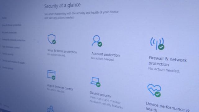 Windows Security homescreen photo