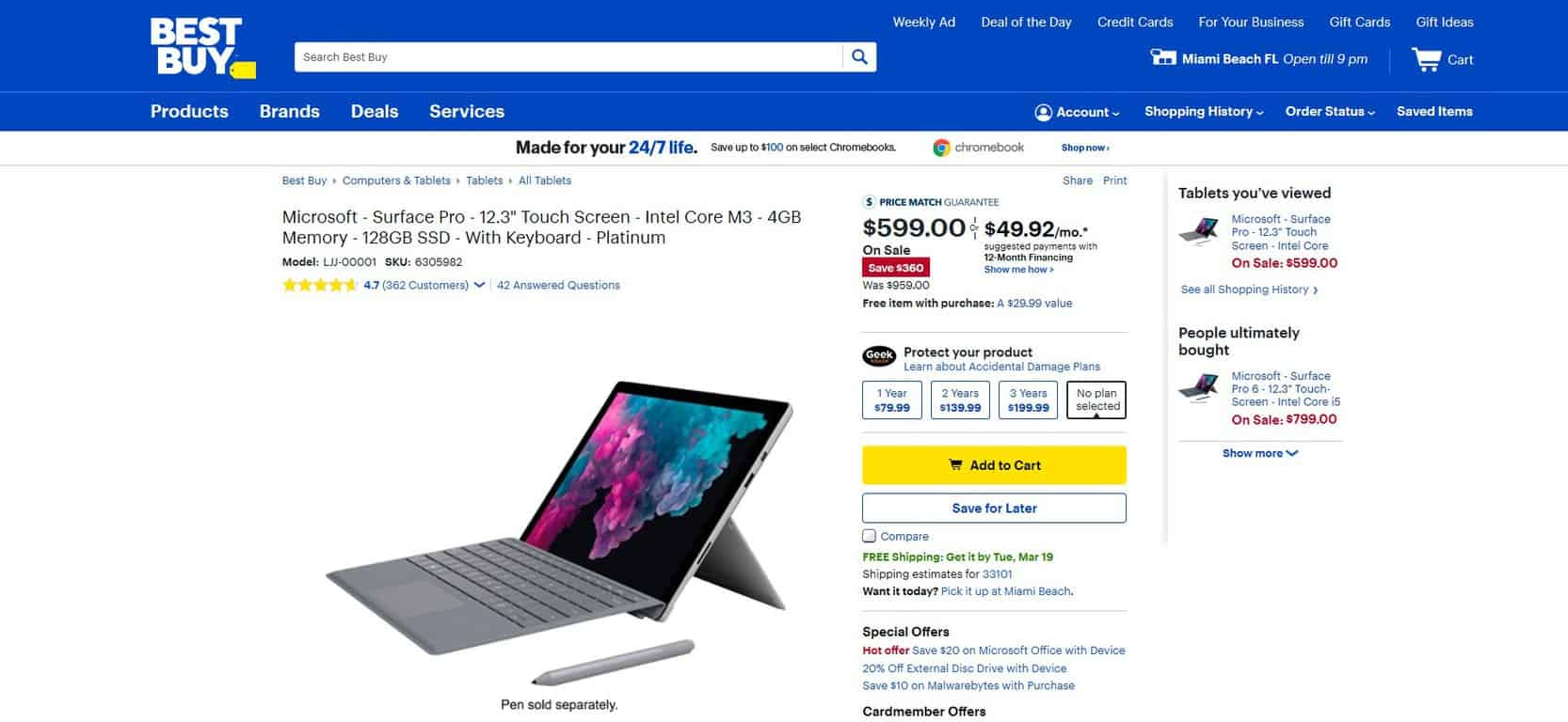 Latest surface pro, with keyboard, available today from best buy for $360 off - onmsft. Com - march 18, 2019