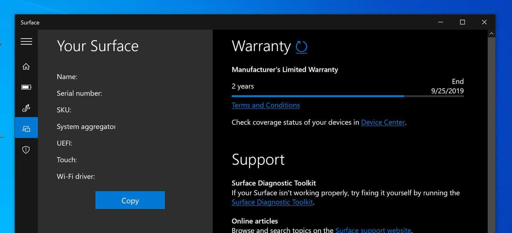 Windows 10 surface app now tells users when their warranty ends - onmsft. Com - march 22, 2019
