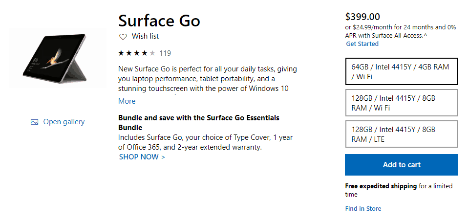 Microsoft stops selling midrange surface go with 4gb of ram and 128gb of storage - onmsft. Com - april 17, 2019