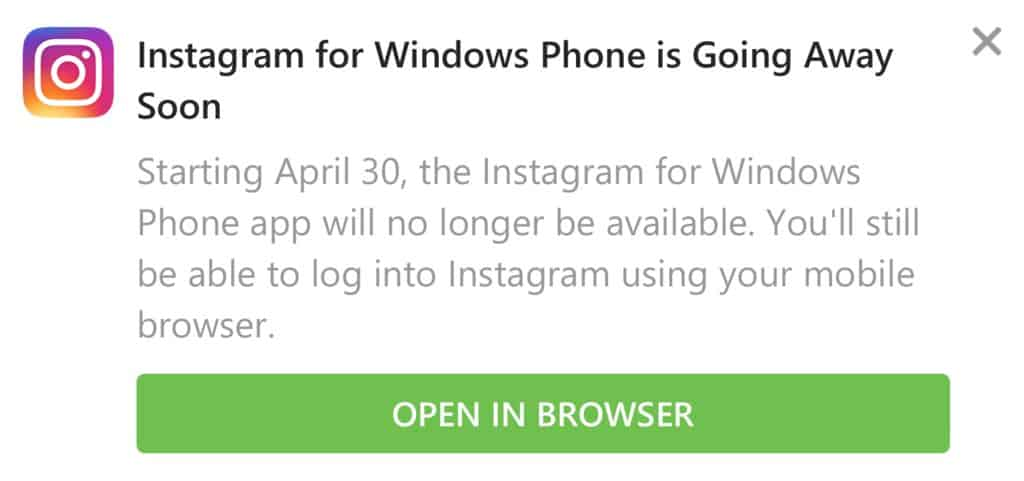 Instagram app for windows 10 mobile to be retired on april 30 - onmsft. Com - april 3, 2019