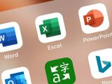 Microsoft word, excel, bing, microsoft translate, outlook, and powerpoint apps on ios