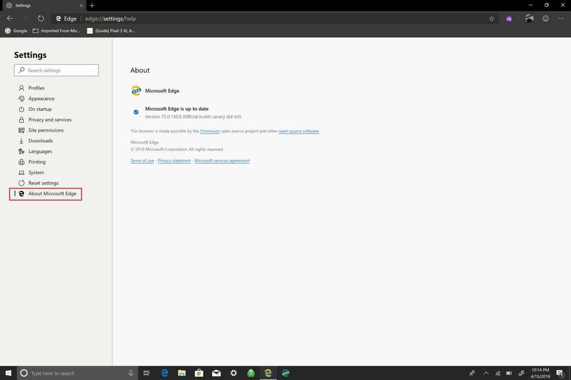 Microsoft, Windows 10, Settings, Edge Insider, update