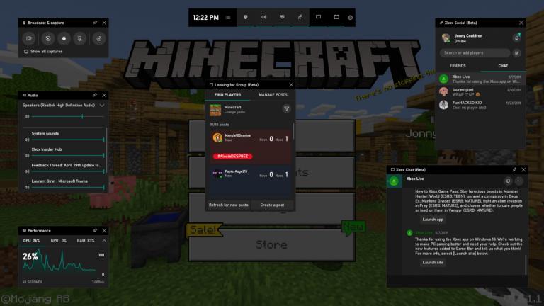 Xbox game bar in minecraft