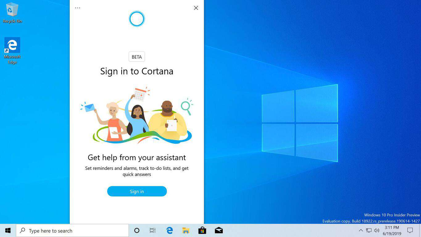 Microsoft tests new update path for cortana with 'beta' app in store - onmsft. Com - june 27, 2019