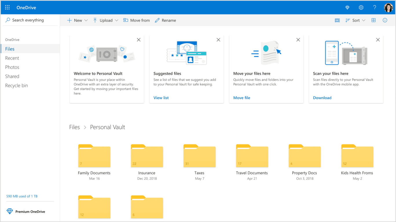 OneDrive is getting 2TB storage option for Office 365 subscribers, along with new Personal Vault feature OnMSFT.com June 25, 2019