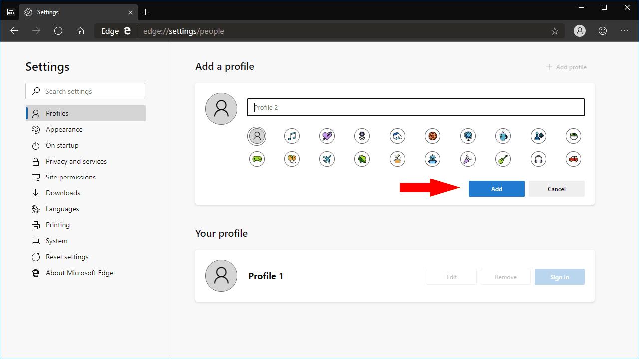 Screenshot of profiles in microsoft edge insider