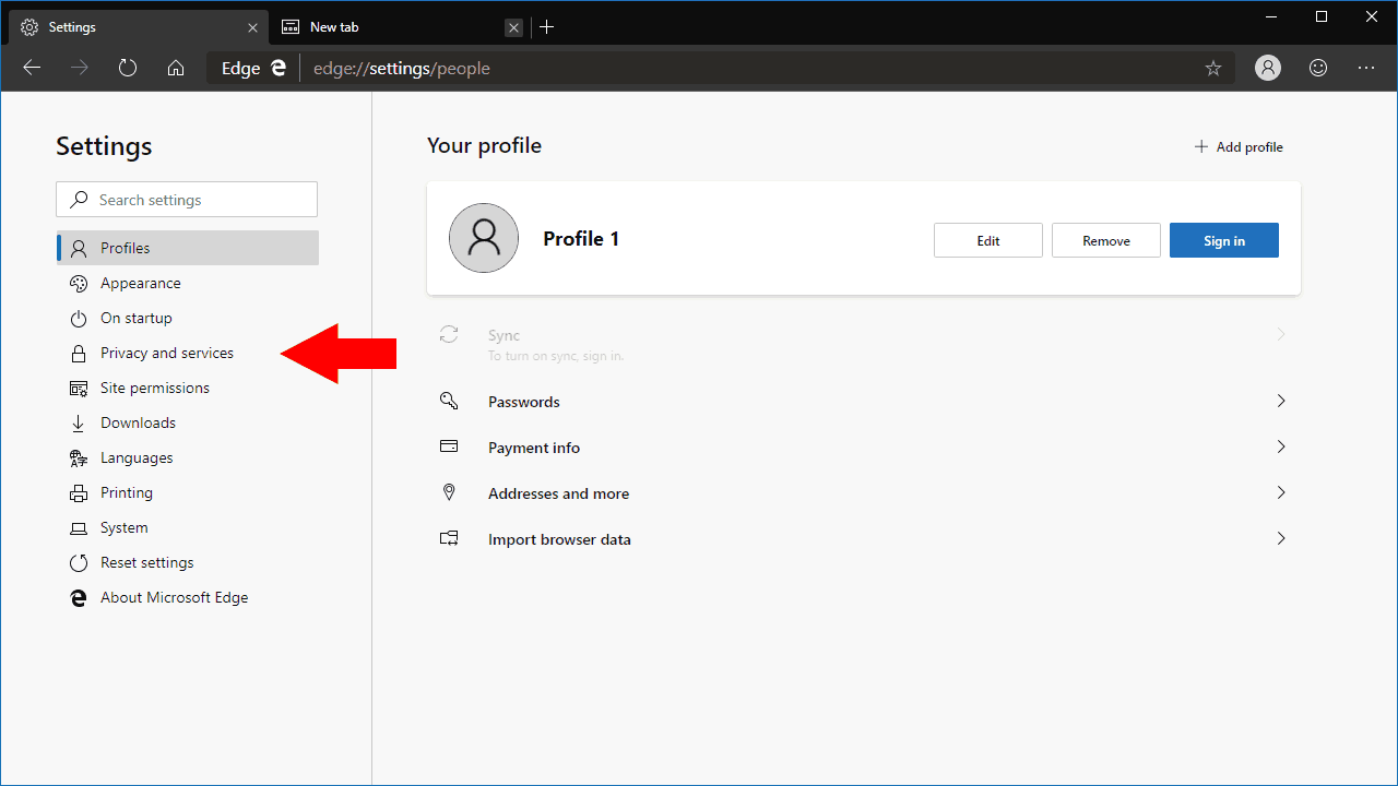 Settings in Microsoft Edge Dev