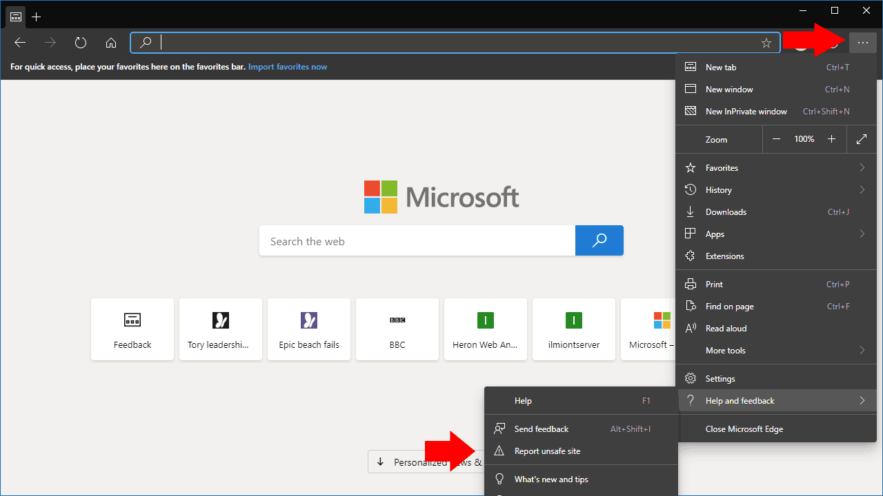 Screenshot of reporting an unsafe site in Edge Insider