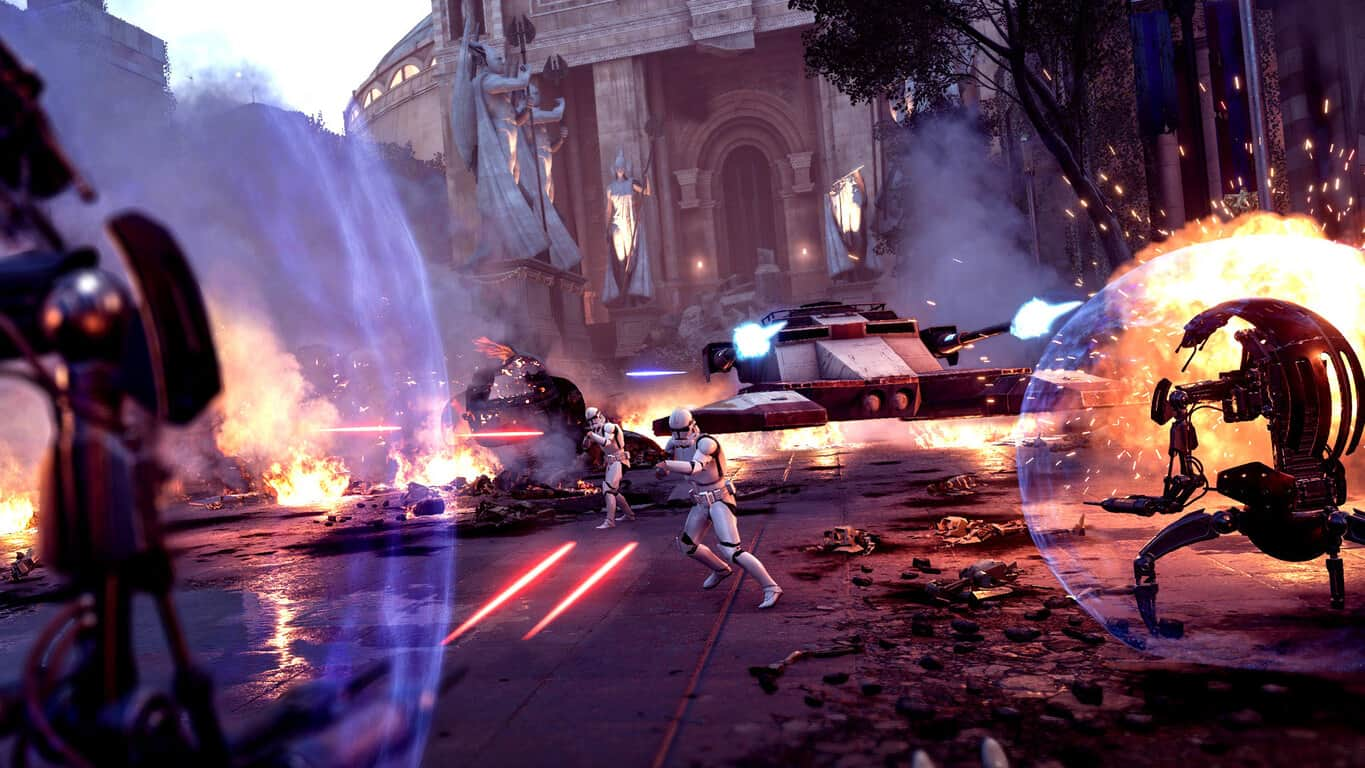 Star Wars Battlefront II video game on Xbox One with Droideka