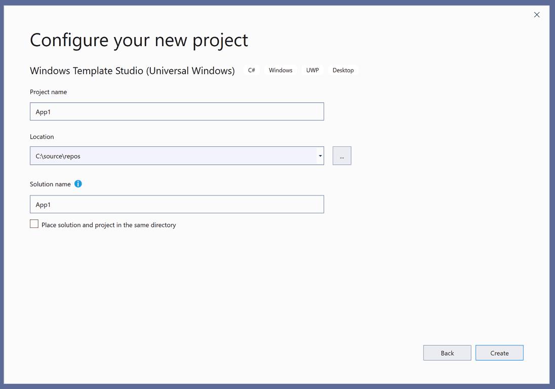 Windows template studio configure new project