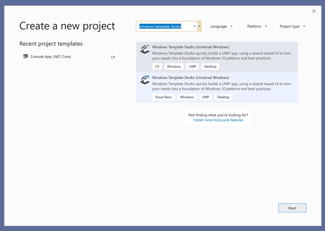 Windows template studio create new project