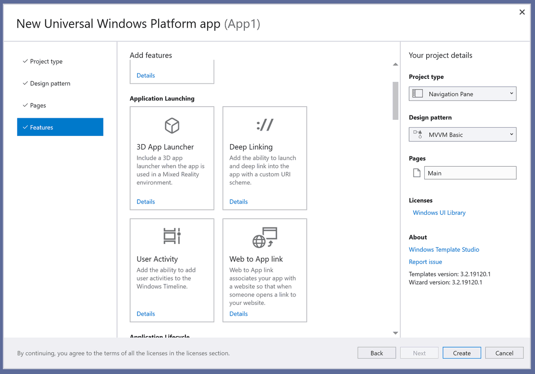 Windows template studio features