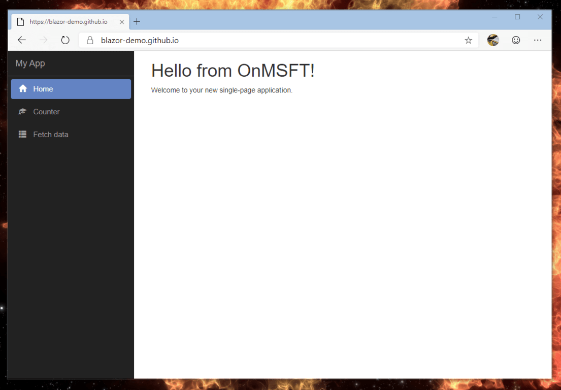 Demo Blazor Application OnMSFT