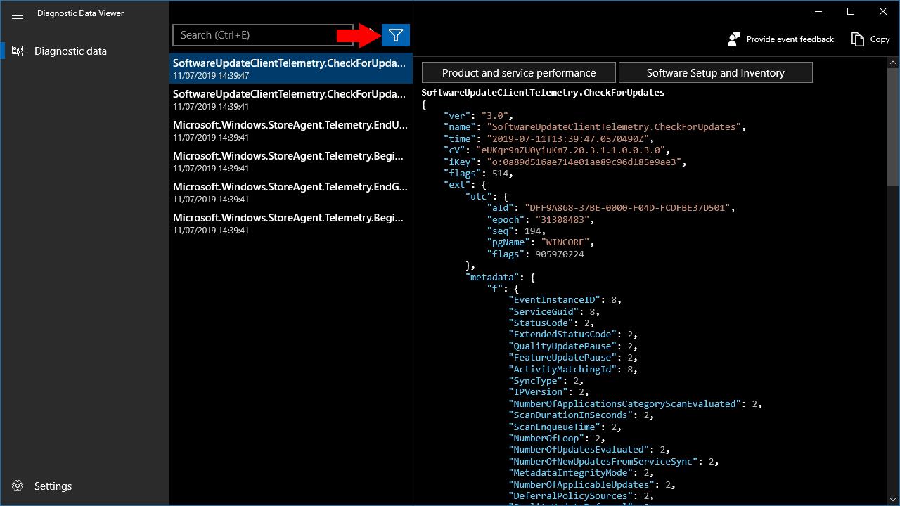 Screenshot of windows 10 diagnostic data viewer app