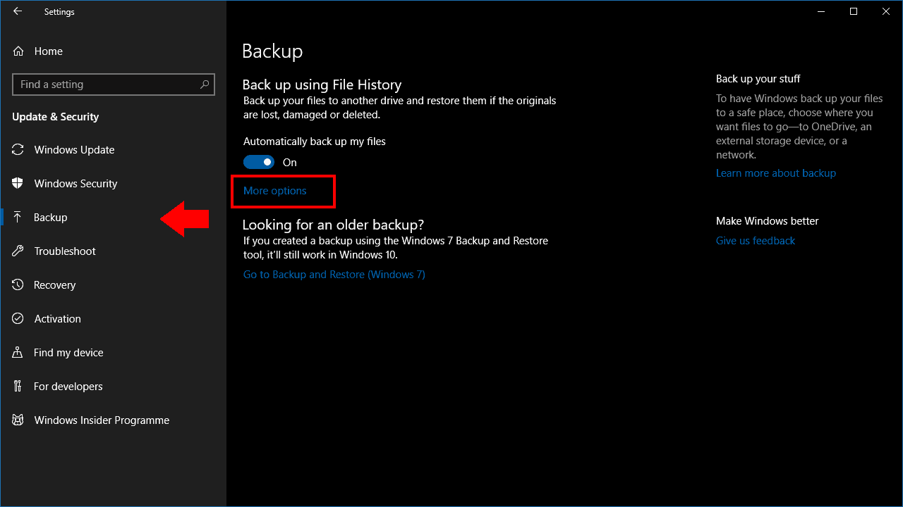 Screenshot of File History settings in Windows 10