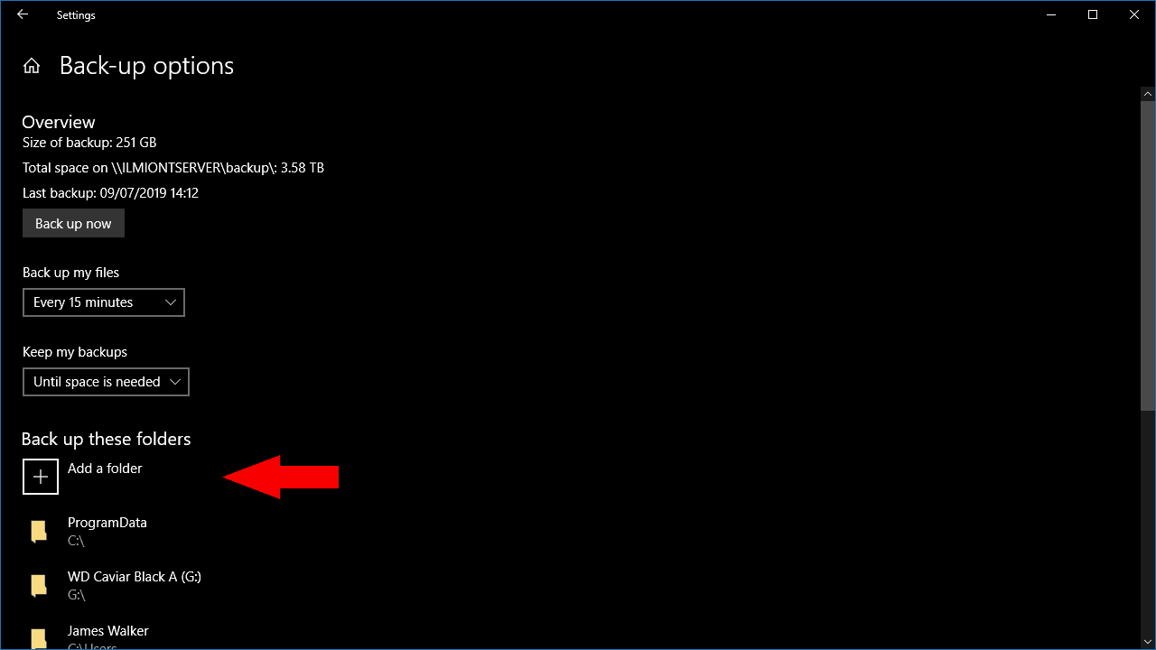 Screenshot of file history settings in windows 10