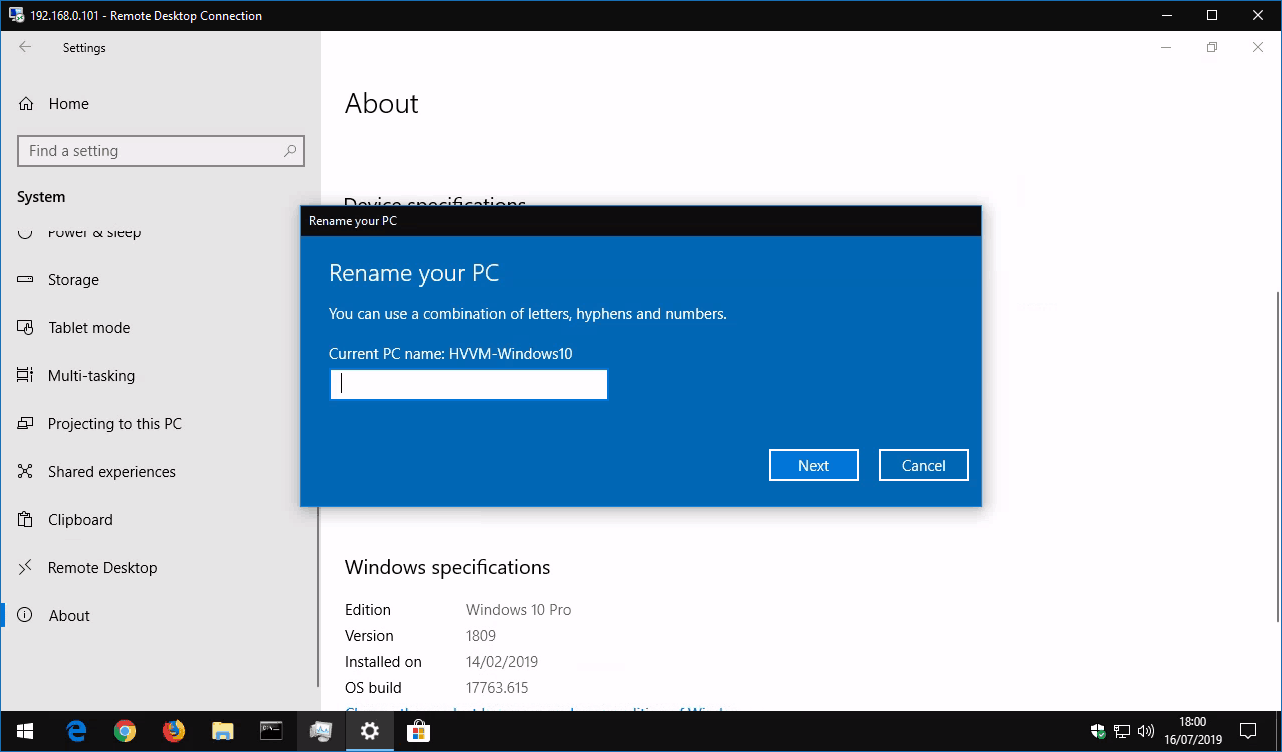 Renaming computer in Windows 10