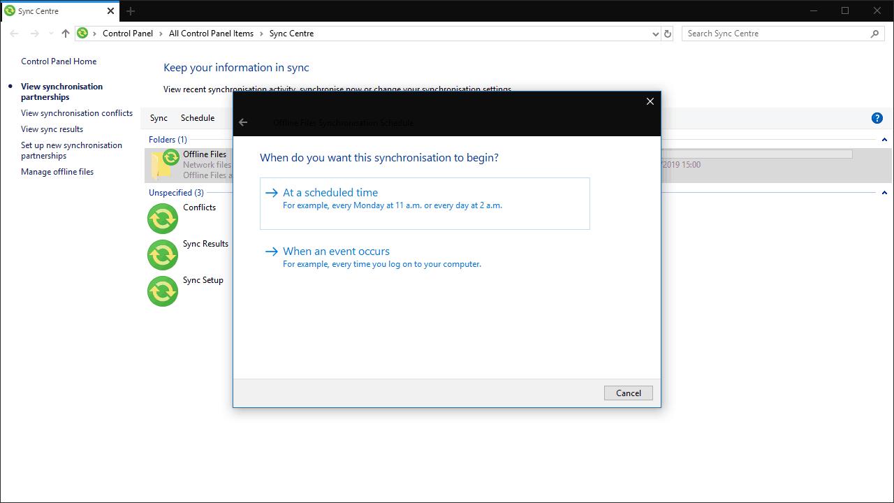 Screenshot of sync center in windows 10