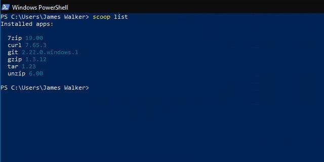 Scoop list command