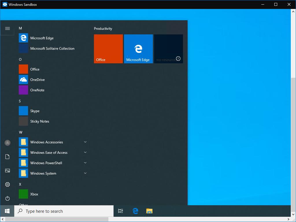 Windows Sandbox screenshot