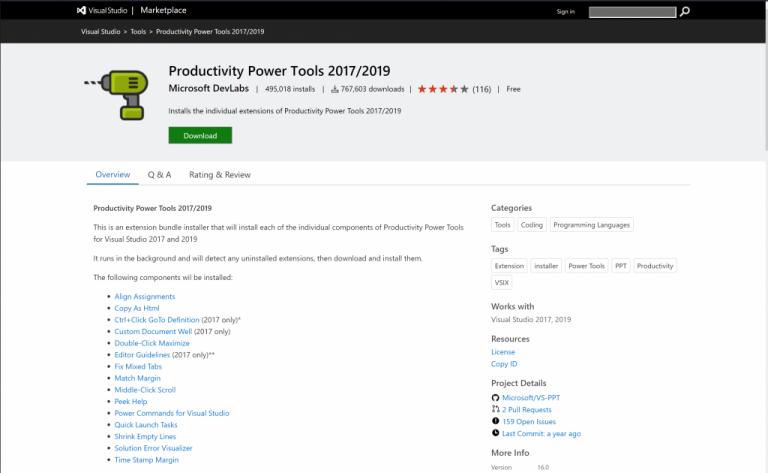 Visual studio extension productivity power tools