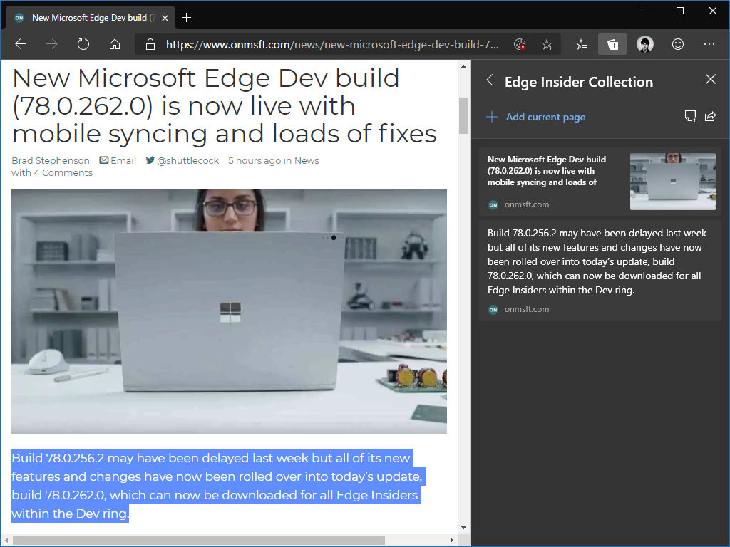 Collections in Microsoft Edge Insider