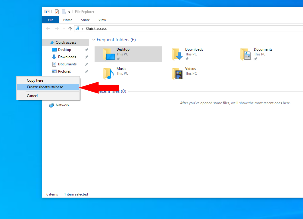 Adding desktop shortcuts in Windows 10