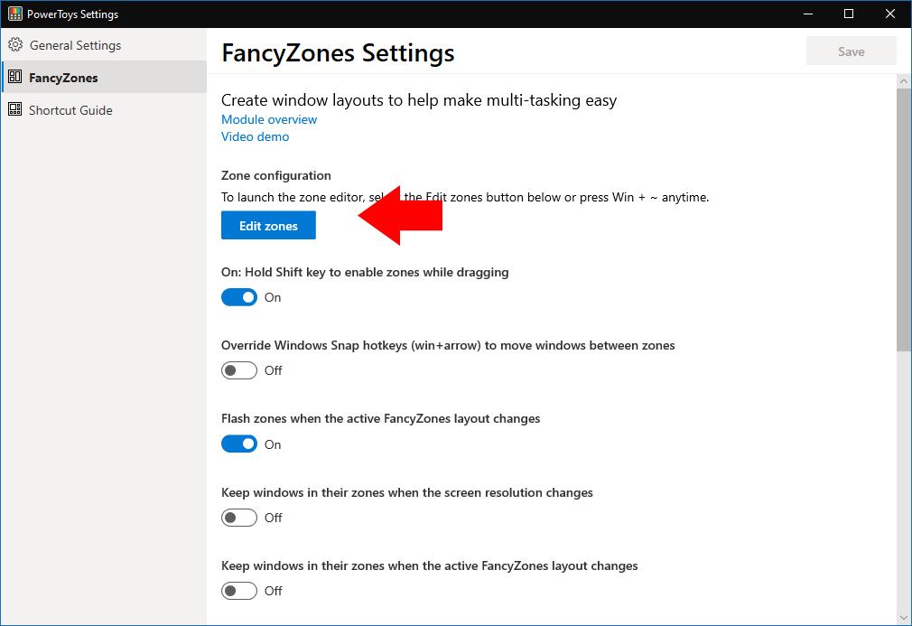 FancyZones settings
