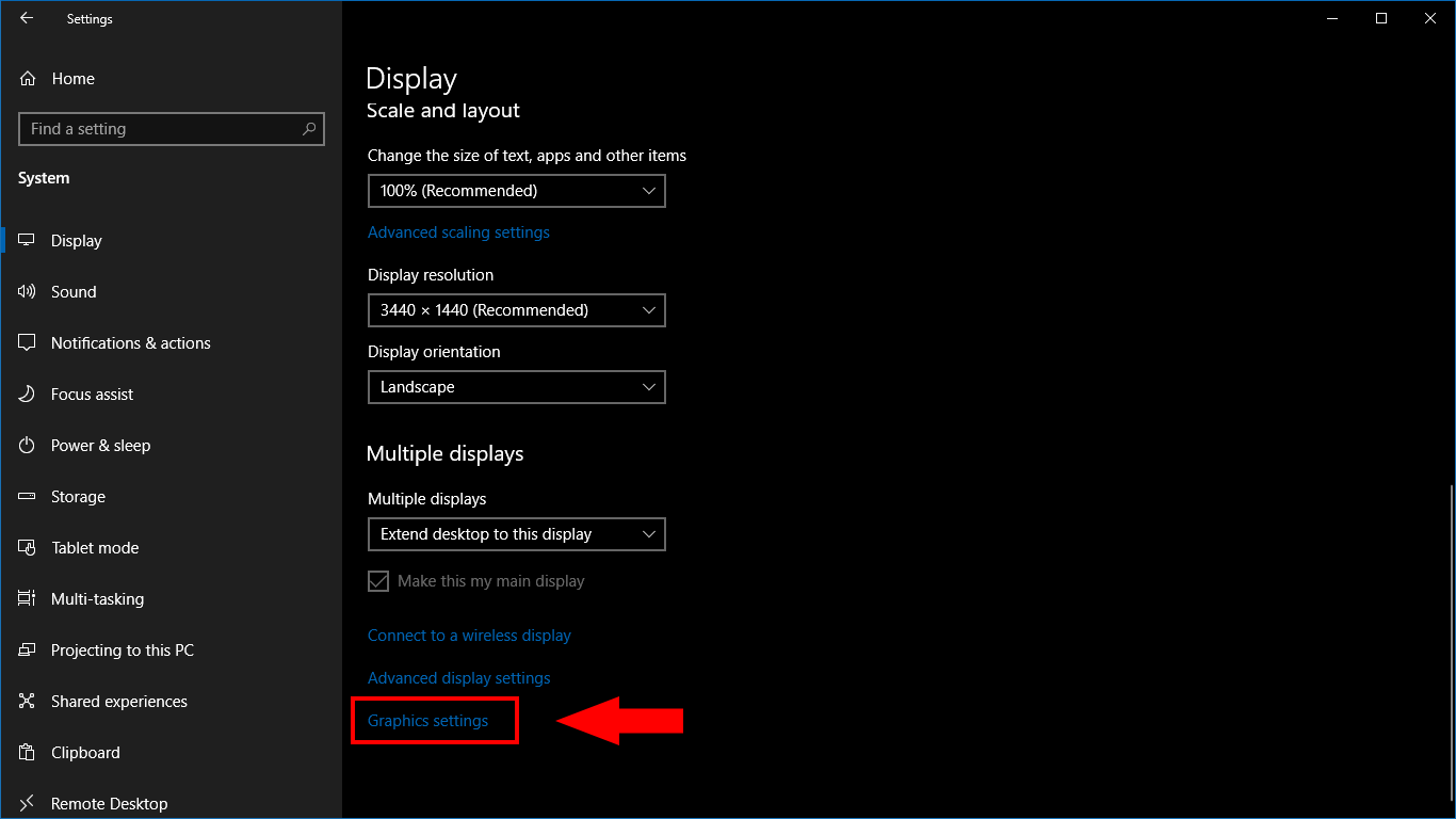 Setting per-app graphical performance settings in windows 10