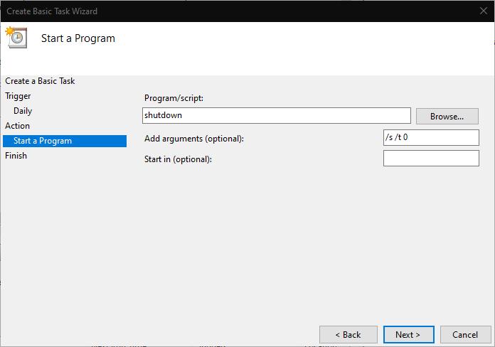 Scheduling a shutdown in Windows 10