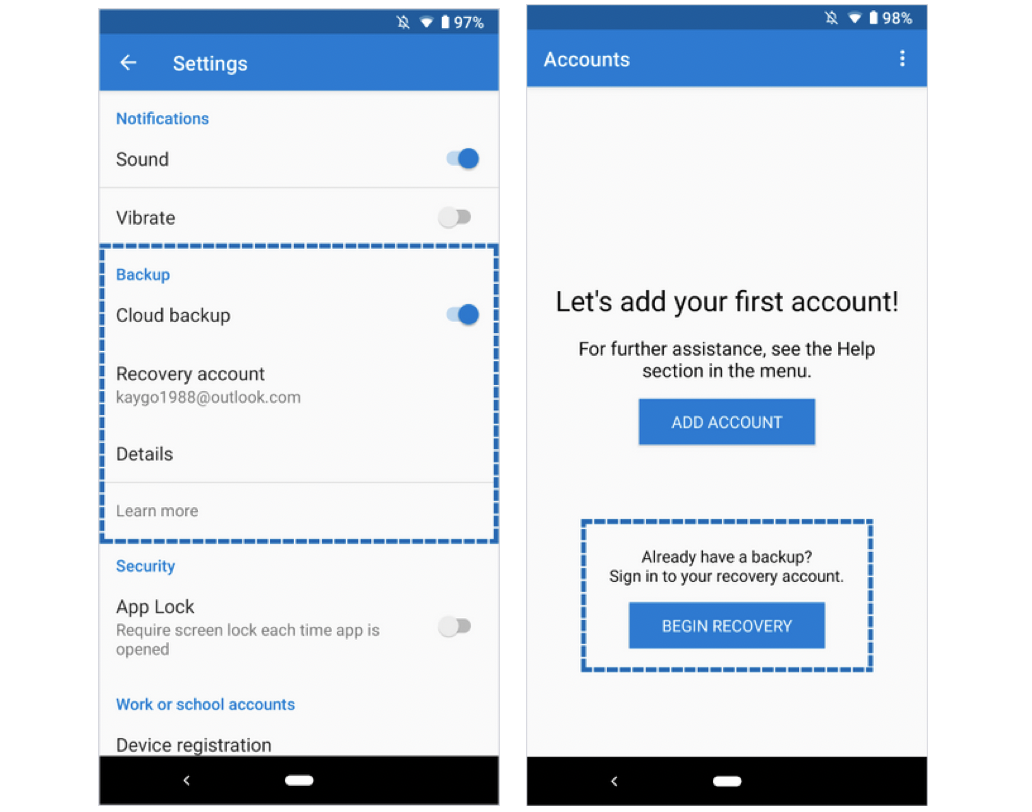 Microsoft Authenticator adds cloud backup and recovery for Android